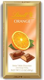 Lindt Chocolate - Milk Chocolate With Orange Filling, 100g/3.5oz. (12 Pack)