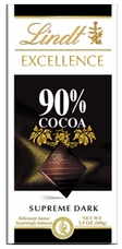 Lindt Swiss Chocolate - Excellence Supreme Dark Chocolate with 90% Cocoa, 100g/3.5oz. (Single)