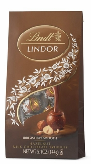 "Lindt Swiss Chocolate - Lindor Truffles ""Hazelnut Milk Chocolate with a Smooth Filling!"", 12 Piece Bag, 144g/5.1oz. (Single)"