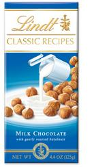 Lindt Swiss Chocolate - Milk Chocolate with Roasted Hazelnuts, 125g/4.4oz.  (6 Pack)