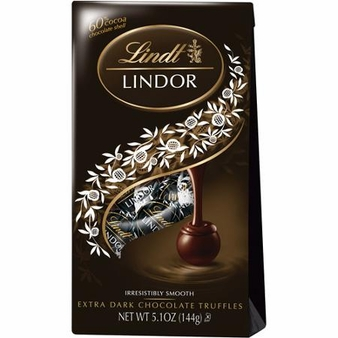 "Lindt Truffle - Lindt Lindor Truffles ""60% Extra Dark Chocolate with a smooth filling"" 12 Piece Bag, 144g/5.1oz. (Single)"