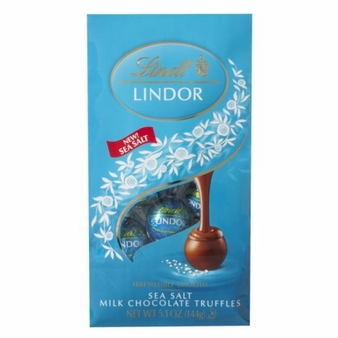 Lindt Truffle - Lindt Lindor Truffles Sea Salt Milk Chocolate (Blue wrap),5.1 oz Bag (Single)