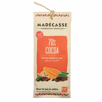 Madecasse Chocolate - Madagascar Dark Chocolate, 70% Cocoa, 75g/2.64oz (Single)