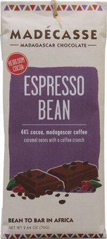 "Madecasse Milk Chocolate ""Espresso Bean"", 44% cocoa, 75g/2.64oz."