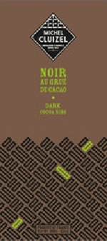 """Michel Cluizel French Chocolate - 63% Cocoa Dark Chocolate with """"Cocoa Nibs"""", 100g/3.5oz. (Single)"""