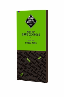 "Michel Cluizel French Chocolate - 63% Cocoa Dark Chocolate with ""Cocoa Nibs"", 100g/3.5oz. (5 Pack)"