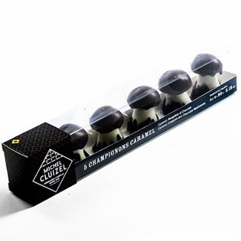 "Michel Cluizel French Chocolate - ""Les Champignons"" Chocolate & Caramel Mushrooms, 5 Piece, 90g/3.18oz. (Single)."
