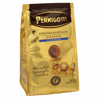 Pernigotti Orogianduia Gemme Milk Chocolates with a creamy hazelnut filling , 123g /4.34oz (Single)
