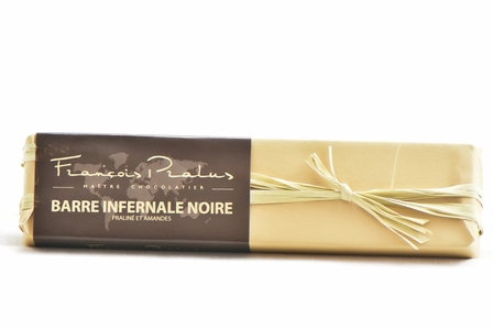 Pralus Barre Infernale Noire, Praline with Almonds, Dark Chocolate, 75% Cocoa, French, 160g/5.64oz. (3 Pack)