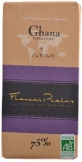 "Pralus French Chocolate - ""Ghana - Pure Origin"" Dark Chocolate, 75% Cocoa, 100g/3.5oz (5 Pack)."