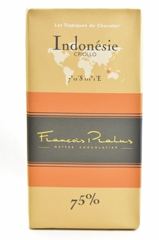 "Pralus French Chocolate - ""Indonesie - Pure Origin"" Dark Chocolate, 75% Cocoa, 100g/3.5oz. (15 Pack)"
