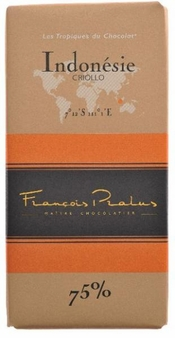 "Pralus French Chocolate - ""Indonesie - Pure Origin"" Dark Chocolate, 75% Cocoa, 100g/3.5oz. (5 Pack)"