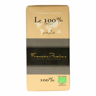 Pralus French Chocolate - Pure Dark Chocolate, 100% Cocoa, 100g/3.5oz. (15 Pack)