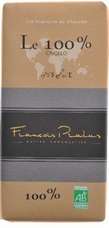 Pralus French Chocolate - Pure Dark Chocolate, 100% Cocoa, 100g/3.5oz. (Single)