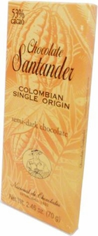 Santander 53% Semi-Dark Chocolate, Colombian Single Origin, 70g/2.46oz (10 Pack)