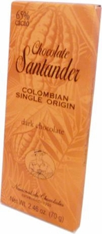 Santander 65% Dark Chocolate, Colombian Single Origin, 70g/2.46oz (10 Pack)