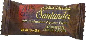 Santander 70% Dark Chocolate Mini-Squares, with 100% Colombian Espresso Coffee, Colombian Single Origin, 6g/.2oz ea. (Single)