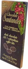 Santander 70% Dark Chocolate with 100% Colombian Coffee Bits, Colombian Single Origin, 70g/2.46oz (10 Pack)