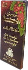 Santander 70% Dark Chocolate with 100% Colombian Espresso Coffee, Colombian Single Origin, 70g/2.46oz (Single)