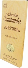Santander Milk Chocolate, 36% Cocoa, Colombian Single Origin, 70g/2.46oz (Single)