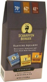 """Scharffen Berger Tasting Squares, """"Bittersweet, Semisweet and Extra Rich Milk Chocolate""""; 70%, 62% and 41% Cocoa, 89g/3.17oz(Single)"""