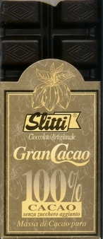 "Slitti Italian Chocolate - ""Gran Cacao"" 100% Pure Mass Of Cocoa, 100g/3.5oz. (5 Pack)."