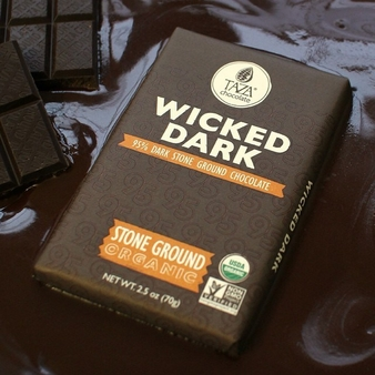 Taza Wicked Dark 95% Dark Chocolate Stone Ground Chocolate, Organic,70g/2.5oz (Single)