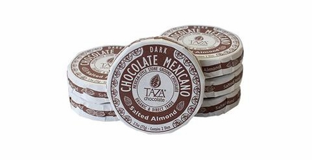 Taza Salted Almond 40% Dark Chocolate Mexicano, Organic, 77g/2.7oz (6 Pack)