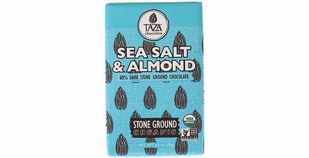 Taza Sea Salt & Almond 80% Stone Ground Dark Chocolate Bar, Organic, 70g/2.5oz (Single)