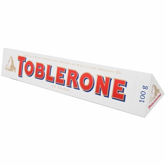 Toblerone White Chocolate With Honey & Almond Nougat 3.52oz/100g (10 Pack)