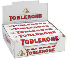 TOBLERONE WHITE CHOCOLATE WITH HONEY & ALMOND NOUGAT 3.52OZ/100G (PACK OF 20)
