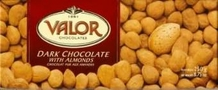"""Valor """"Chocolat Pur Aux Amandes"""" Dark Chocolate with Almonds,52% Cocoa, 250g/8.75oz.  (5 Pack)"""