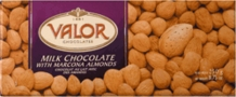 "Valor Chocolate - 34% Cocoa Milk Chocolate with ""Marcona Almonds"", 250g/8.75oz.(10 Pack)"