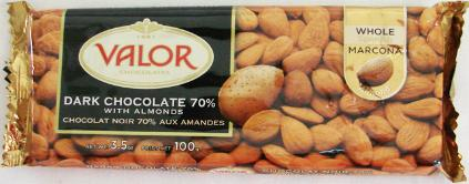 "Valor ""Dark Chocolate 70% with Almonds"", Whole Marcona Almonds, 70% Cocoa, 100g/3.5oz.  (5 Pack)"