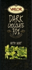 Valor Dark Chocolate Chocolate with Mint 70% Cocoa, 100g/3.5oz.(5 Pack)