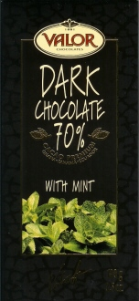 Valor Dark Chocolate Chocolate with Mint 70% Cocoa, 100g/3.5oz. (17 Pack)