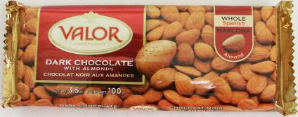 """Valor """"Dark Chocolate with Almonds"""", Whole Spanish Marcona Almonds, 52% Cocoa, 100g/3.5oz. (10 Pack)"""