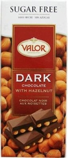 "Valor ""Dark Chocolate with Hazelnuts"", Sugar Free, 52% Cocoa, 150g/5.29oz. (Single)"