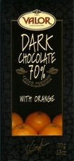 Valor Dark Chocolate With Orange 70% Cocoa, 100g/3.5oz.(5 Pack)