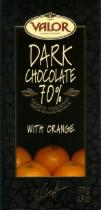 Valor Dark Chocolate With Orange 70% Cocoa, 100g/3.5oz. (17 Pack)