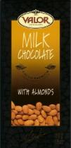 Valor Milk Chocolate With Almonds 34% Cocoa, 100g/3.5oz. (17 Pack)