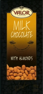 Valor Milk Chocolate With Almonds 38% Cocoa, 100g/3.5oz. (Single)