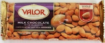 "Valor ""Milk Chocolate with Almonds"", Whole Spanish Marcona Almonds, 34% Cocoa, 100g/3.5oz. (Single)"