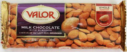"""Valor """"Milk Chocolate with Almonds"""", Whole Spanish Marcona Almonds, 34% Cocoa, 100g/3.5oz.  (5 Pack)"""