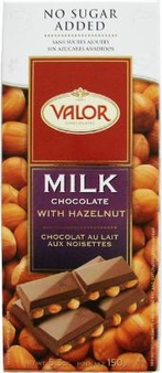 "Valor ""Milk Chocolate with Hazelnuts"", No Sugar Added, 36% Cocoa, 150g/5.29oz  (5 Pack)"