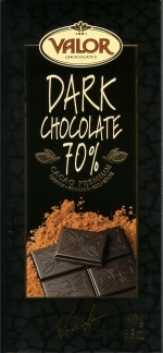 Valor Spanish Chocolate - Dark Chocolate 70% Cocoa, 100g/3.5oz. (17 Pack)