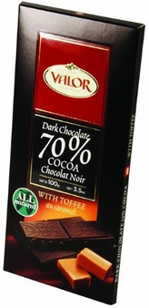 """Valor Spanish Chocolate - Dark Chocolate 70% Cocoa with """"Toffee"""", 100g/3.5oz.(5 Pack)"""