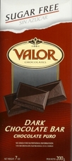 "Valor Spanish Chocolate - Dark Chocolate ""Sugar Free"", 100g/3.5oz.  (5 Pack)"
