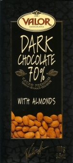 Valor Spanish Chocolate - Dark Chocolate with Almonds, 70% Cocoa, 100g/3.5oz. (Single)