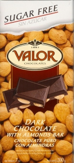 "Valor Spanish Chocolate - Dark Chocolate with Almonds ""Sugar Free"", 150g/5.29oz (Single)"